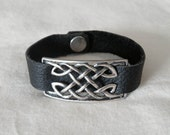 RESERVED for dcadef -- Black Leather Celtic Cuff