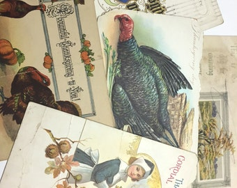 Vintage Thanksgiving Postcards, Vintage Postcards, Five Damaged Postcards, Ephemera, Art Supply, Craft Supply, Thanksgiving Crafts, Group A
