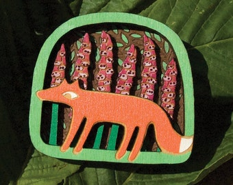 Fox gloves brooch