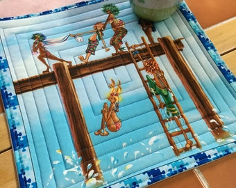 Beach print - Mug Rug / Jumping off the dock / Summer Fun / Lake / Beach / quilted / coster / office decor / gift for her / children