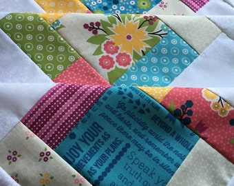 Meadowbloom by Moda Unfinished baby sized quilt - 38 in x 38 in / floral / pink / gift for her / ready to quilt / quilt top / easy project