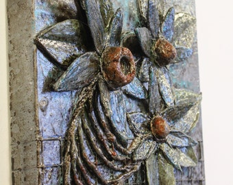 """12x12 """"Picked"""" Sculptural Relief on canvas by Amber Cunningham (upcycle, recycle, reuse, conserve)"""