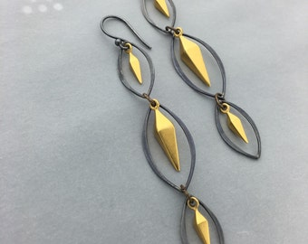 24k Gold Vermeil Diamond Spike Earrings with Black Silver Marquis Frames