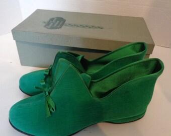 NOS Vintage Daniel Green Slippers in Box Size 5 Corduroy Emerald Green Sandra
