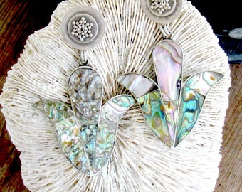 Vintage Abalone Shell Lilly Earrings