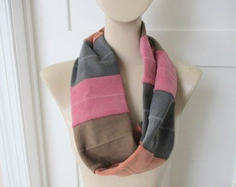 Multi-colored  scarf,  Upcycled, .Repurposed,  Infinity Scarf, Circle Scarf, Knit, Striped Sweatshirt Accessory, Brown Rust Grey Scarf