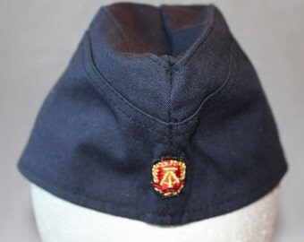 Vintage Navy Blue Garrison Hat, East Germany, 1970's