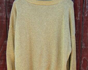 SHINE!- vintage 80s lurex oversize sweater XL XXL