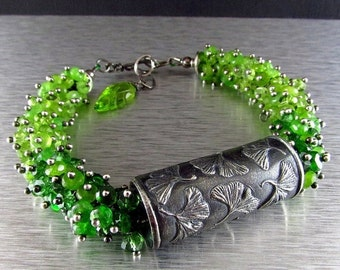 20 % Off Anne Choi Gingko Bead With Chrome Diopside, Peridot, Green Tourmaline And Green Jade