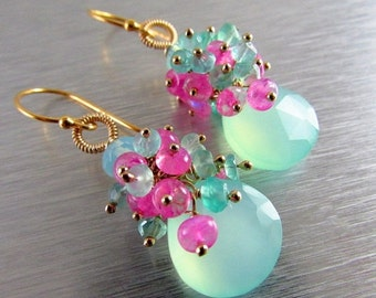 BIGGEST SALE EVER Aqua Chalcedony With Pink Moonstone Gold Filled Cluster Earrings