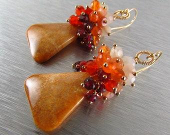 Indonesian Fossil Coral, Rhodolite Garnet, Carnelian and Moonstone Gold Filled Cluster Earrings Earrings