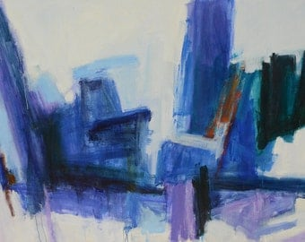 Rubble Rock GICLEE ART PRINT 17 x 11 blue, purple, abstract, landscaping, rock