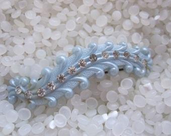 Vintage barrette  with rhinestones soft blue barrette
