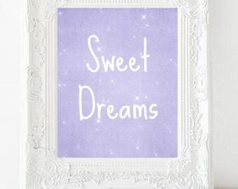 Sweet Dreams Printable Art, Nursery Art, Nursery Wall Decor, Lilac, Lavender Nursery Decor, 8x10 Instant Download