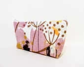 Marimekko Pouch, Medium Zipper Pouch, Pencil Case, Cosmetic Pouch, Toiletry Bag, Pouch, Fabric Pouch, Marimekko Pink and Gold Abstract
