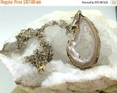 50% OFF SALE Boho Necklace Geode Druzy Slice Necklace Moonstone Wire Wrap Long Cluster Raw Gem Stone Slab Slice Raw Mineral Jewelry Beige Ge