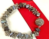 Labradorite Bracelet Wire Wrapped Sterling Silver Labradorite Cluster Bracelet Marcasite Clasp Bangle Bracelet Style