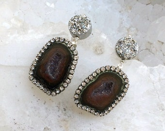 Black Tabasco Geode Earrings Gem Slice Diamond Look Bezel Black Geode Raw Mineral Jewelry Silver Titanium Druzy Post Raw Gem Earrings