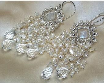 SALE Wedding Earrings Handmade Bridal Chandelier Wire Wrap Moonstone Pearl Cluster Statement Bridal Jewelry Handmade