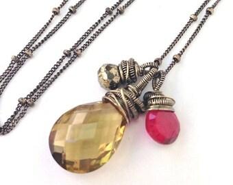 50% OFF SALE Wire Wrap Pendant Gemstone Necklace Whiskey Quartz Dangle Choker Red Topaz, Pyrite, Oxidized Silver Wire Coil, Triple Stone Cho