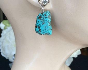 CUPID SALE Turquoise Gemstone Slice Earrings Crystal Post Statement Earrings
