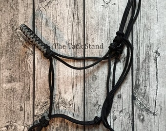 "Original Premium 1/4"" Polyester Soft Rope cord Halter Horse Size Decorative Paracord Pineapple Knots in Black and Silver Diamonds"