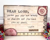 Dear Lord mixed media original spiritual collage block