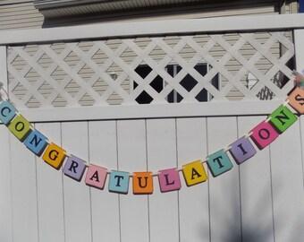 Congratulations - Graduation Banner-Birth Announcement-Engagement Party-Wedding Banner- Promotion Banner-Anniversary Banner-Celebrations