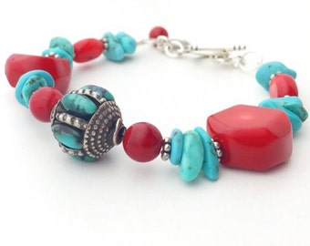 Turquoise and Coral Bracelet. Tibetan Bead, Sterling Silver, Red Coral and Genuine Turquoise
