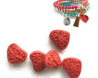 Red Cinnabar Heart Beads x 5