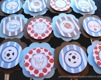 Sports Baby Shower Decorations, Cupcake Toppers, Baby Shower Decorations, Customized