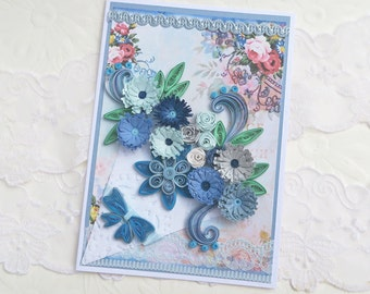 Paper Quilling, Card, Paper Quilled, Happy Birthday, Blue Flowers, Paper Doily, Mom,Lace Keepsake, Paper Art, Thinking of You Handmade