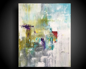 Large Abstract Painting on Gallery Stretched Canvas Cream White Purple Green Red Modern Wall Art 36 x 30