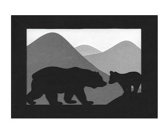 Mama bear and Cub Mountains Paper Cut Silhouette Wall Art Wall Decor 5X7 Unframed