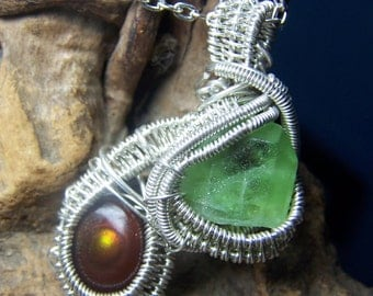 Peridot Fire AGate  necklace pendant Sterling Silver wire wrap - crystal stone light green point natural stone cab - black cord chain - @B7