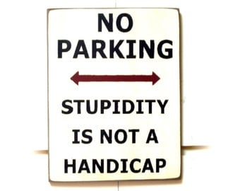 No Parking Stupidity Is Not A Handicap wood sign