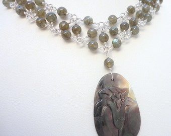 Lustrous Labradorite and Mother-of-Pearl Beadmail Necklace on Silver Wire and Chain