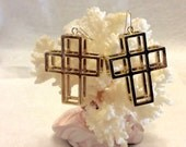 Vintage 1970's three dimensional cross drop dangle earrings.