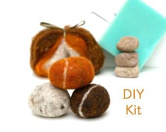 Needle Felting Kit Beginner - Felted Pebble Kit - Wool Stone Rock Kit - DIY Craft Kit - Children - Kids