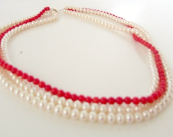 Vintage Real Pearls and Coral Necklace Choker Double Strand Pearls and Natural red coral 14k gold  clasp