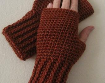 Crocheted Fingerless Gloves / Wrist Warmers - Copper