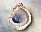 Oyster Shell ORIGINAL Oil painting 6x6 Coastal Beach Seashell Art by Kristine Kainer