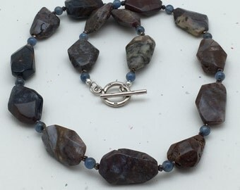 Pietersite and Kyanite Necklace - Brown Necklace - Statement Necklace - Mothers Day Necklace