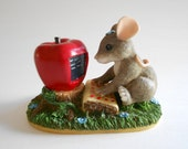 Vintage Fitz and Floyd Charming Tails Maxine Goes On-Line Resin Mouse Figurine Mouse Statue Apple Computer Made in China
