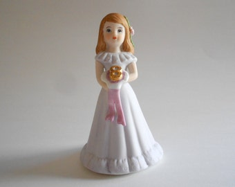 Birthday Girl Statue Porcelain Figurine Age 8 Vintage 1982 Growing Up Birthday Girls Enesco Lavender Gown Srilanka Girl Figurine