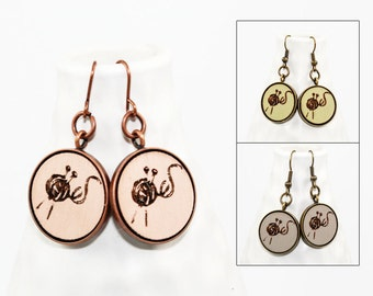 Knitter's Earrings - Laser Engraved Wood (Choose Your Color)