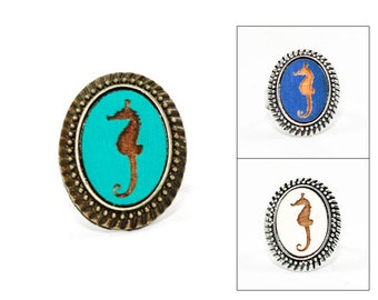Oval Seahorse Ring - Laser Engraved Wood in Adjustable Setting (choose your color / custom made jewelry)