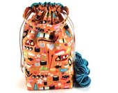 Medium Knitting Crochet Project Bag *with interior yarn guide* - Wasabi