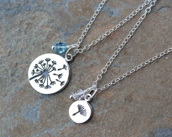 Mother Daughter Dandelion Necklace Set - Adorable Sterling Silver Dandelion Flower and Seed - with Birthstone Crystals - 2 necklaces