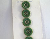 """Original card of 1/2"""" Green Glass Buttons with Gold Luster 7439-6"""